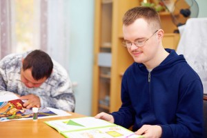 young man studying at rehabilitation center
